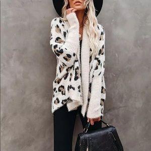 Oversized Fuzzy Boho Leopard Open Cardigan